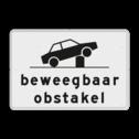 Verkeersbord Onderbord - Beweegbaar obstakel Verkeersbord RVV OB627 - Onderbord - Beweegbaar obstakel OB627 auto, wit bord, OB627, Beweegbaar obstakel, paal