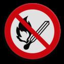 Veiligheidspictogram Roken en open vuur verboden Veiligheidspictogram - Open vuur en roken verboden - P003 lucifer, vuur, aansteken, brand