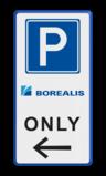Parkeerbord Eigen terrein E04 3txt + 2 kleuren logo parkeren, eigen tekst, logo, E4