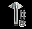 Rechte muur- / plafondbeugel Ø48mm gegalvaniseerd staal inclusief montageplaat en beugelset gevelbevestiging, gevel, wandmontage