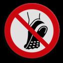 Veiligheidspictogram Het dragen van profielzolen is niet toegestaan Veiligheidspictogram - Verboden voor profielzolen - P035 drugs, amsterdam