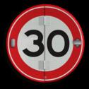 Klapbord - 4 standen - Rond conform RVV ersbo, snelhiedsbord, snelheidbord, 30 km bord, snelheid, zonebord, A1, boekwerkbord, klap-borden, klapperborden, boekbord