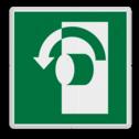 Veiligheidspictogram Schakelaar links gebruiken Veiligheidspictogram - Draai tegen de klok in om te openen - E018 links, schakelen