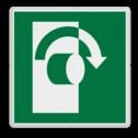 Veiligheidspictogram Schakelaar rechts gebruiken Veiligheidspictogram - Draai met de klok mee om te openen - E019 rechts, schakelen
