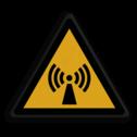 Veiligheidspictogram Waarschuwing voor signaal storing Veiligheidspictogram - Pas Op! niet-ioniserende straling - W005 Storing, signaal, zender, zendmast