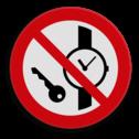 Veiligheidspictogram Tijdslot niet toegestaan Veiligheidspictogram - Kleine metalen voorwerpen en horloges verboden - P008 tijd, klok, slot, sloten,