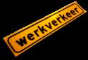 Magneetbord  500x100x1,5mm geel FLUOR 'WERKVERKEER' werkverkeer