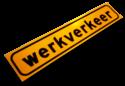 Sticker  500x100mm geel FLUOR 'WERKVERKEER' werkverkeer