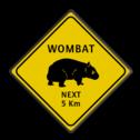 Verkeersbord Australie - WOMBATS bijzonder verkeersbord, dier,
