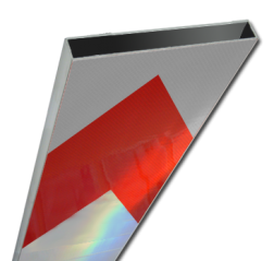 Schrikhekplank 2000mm lang kokerprofiel pijlmotief hekplank, schrikhek, rood, witte, planken, schrikplank, afzethek, blokken