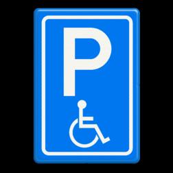 Verkeersbord Parkeerplaats minder valide - Parkeergelegenheid alleen bestemd voor voertuigcategorie, of groep voertuigen, die op het bord is aangegeven Verkeersbord RVV E06 - Parkeren minder validen invalide parkeerplaats, E6, minder valide, rolstoel, beperkinggehandicapten, invaliden, miva
