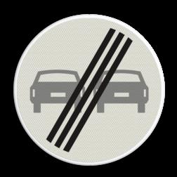Product Einde verbod voor motorvoertuigen om elkaar onderling in te hale Verkeersteken RVV F02 verboden in te halen, einde, auto's, niet inhalen, vebodsbord, F2