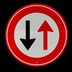 Product Verbod voor bestuurders door te gaan bij nadering van verkeer uit tegengestelde richting Verkeersteken RVV F05 Wegversperring, tegeovergestelde richting, voorrang, F5
