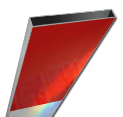 Schrikhekplank 2500mm lang kokerprofiel blokmotief - RVV BB16-1 hekplank, schrikhek, rood, witte, planken, schrikplank, afzethek, blokken, RVV BB15-2, BB15