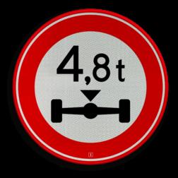 Verkeersbord Gesloten voor voertuigen en samenstellingen van voertuigen waarvan de aslast hoger is dan op het bord is aangegeven Verkeersbord RVV C20-... - Gesloten voor te zware aslast C20 verbodsbord, verboden, gewicht, C20, asdruk, as druk, aslast, as last, gesloten
