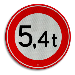 Verkeersbord Gesloten voor voertuigen en samenstellingen van voertuigen waarvan de totaalmassa hoger is dan op het bord is aangegeven Verkeersbord RVV C21-... - Gesloten voor te zware voertuigen C21 verbodsbord, verboden, gewicht, C21, ton, totaalmassa, gesloten verklaring