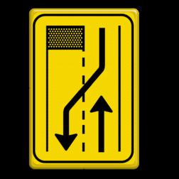 Verkeersbord T31-2r geel/zwart Tekstbord, WIU bord, tijdelijke verkeersmaatregelen, werk langs de weg, omleidingsborden, tijdelijk bord, werk in uitvoering, 3 regelig bord