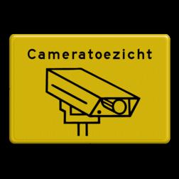 Informatiebord geel/zwart cameratoezicht - BP04 cameratoezicht, camera, bewaking, eigen terrein, bewegwijzering, beveiliging, videoregistratie, BP03, Preventie, Toezicht