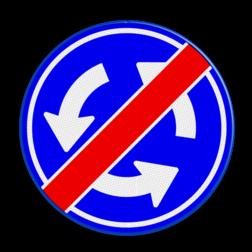 Verkeersbord LET OP ! NIET rechtsgeldig, dit bord bestaat NIET in het Regelement voor verkeerstekens Verkeersbord D01 - Einde rotonde cadeau, kado, rotondebord, 3 pijlen, rond blauw bord, D1, grappig, belgie