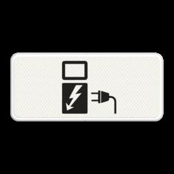 Verkeersbord Alleen voor elektrische voertuigen Verkeersbord RVV OB19 - BE Auto, vrachtauto, vrachtwagen, touringcar, bus, OB-19, OB 19, Elektrisch laden, oplaadpunt, oplaadpaal, BE