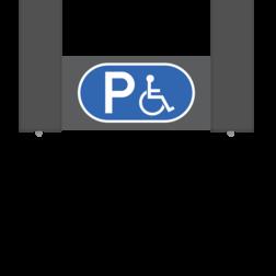Verwijsbord AUTO RAL7016 400x200 + reflex | Miva | Montagestukken 80x80x400mm