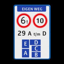 Verkeersbord - eigen weg - huisnummerverdeling Wit / blauwe rand, (RAL 5017 - blauw), EIGEN TERREIN (banner), Op dit terrein, gelden de regels, conform de, wegenverkeerswetgeving.,   Verboden toegang