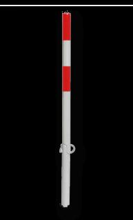 Antiparkeerpaal Ø60x1000mm, NEERKLAPBAAR - met hangslot anti-parkeerpaal, parkeren, rood-witte paal, verboden te parkeren, parkeerbeugel, klappaal, klap paal, trottoirpaal, geen parkeerplaats, niet parkeren