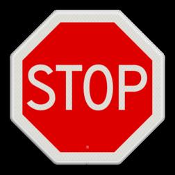 Verkeersbord STOP; verleen voorrang aan de bestuurders op de kruisende weg Verkeersbord RVV B07 - Stoppen voor voorrangsweg B07 Stopbord, nu stoppen, voorrangswegbord, stop, B7, voorrang, kruising, kruispunt