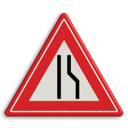 Product Wegversmalling (links) Verkeersteken RVV J18 smalle weg, pas op, let op, J18, obstakel