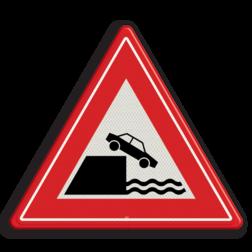 Verkeersbord Gevaarlijke kade of rivieroever Verkeersbord RVV J26 - Vooraanduiding kade of rivieroever J26 let op, pas op, waterkant, J26, kade, rivieroever