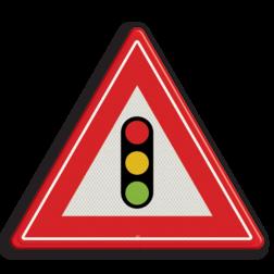 Verkeersbord Je nadert verkeerslichten Verkeersbord RVV J32 - Vooraanduiding verkeerslichten J32 verkeerslichten, stoplicht, pas op, let op, verkeerslicht, J32