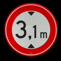 Product Gesloten voor voertuigen en samenstellingen van voertuigen die, met inbegrip van de lading, hoger zijn dan op het verkeersteken is aangegeven Verkeersteken RVV C19-xx - met vrij invoerbare opdruk verbodsbord,  verboden, hoogteborden, C19, BT25, Let op!, C19-vrij invoerbaar, maximale, doorrijhoogte, Hoogte, Hoogteportaal, Doorrijhoogteportaal, Doorrij, BT