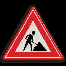 Verkeersbord Werk in uitvoering / Wegwerkzaamheden Verkeersbord RVV J16 - Werk in uitvoering J16 man met schop, WIU, werkbord, werk aan de weg, J16, werk, uitvoering, werkwegzaamheden, waarschuwingsbord