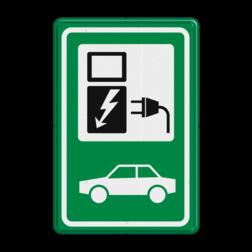 Verkeersbord BW101_SP19 - auto laadpunt - RAL6024 Elektrische, groene stroom, BW101, oplaadpunt, auto laden, autolaadpunt, laadpaal, oplaadpalen, Oplaadpaal, BE04