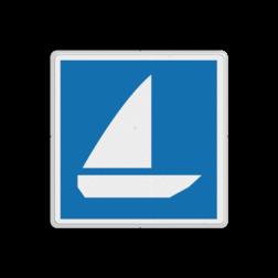 Scheepvaartbord Zeilschepen toegestaan. Teken E.18 wordt vooral gebruikt om het einde van een met teken A.15 ingesteld verbod aan te geven. Scheepvaartbord BPR E.18 - Zeilschepen toegestaan E.18 schip, pleziervaart, watersport, zeilen, water, E18, aanwijzingstekens, aanwijzingsborden, waterweg, waterwegen, scheepvaarttekens, verkeerstekens,