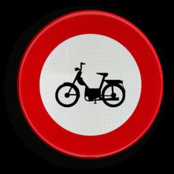 Verkeersbord C9: Verboden toegang voor bestuurders van bromfietsen. Verkeersbord België C9 - Verboden toegang voor bestuurders van bromfietsen. C9 verbodsbord, c09, C9, brommers