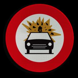 Verkeersbord C24b: Verboden toegang voor bestuurders van voertuigen die gevaarlijke ontvlambare of ontplofbare stoffen vervoeren Verkeersbord België C24b - Verboden toegang voor bestuurders van voertuigen die gevaarlijke ontvlambare of ontplofbare stoffen vervoeren C24b verbodsbord, gevaarlijke, ontploffing, stoffen, ontvlambaar