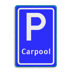 Verkeersbord Parkeergelegenheid ten behoeve van carpoolers Verkeersbord RVV E13 - Parkeerplaats Carpool E13 parkeerplaats, parkeerplek, overstappen, meerijden, woon-werk verkeer, E13, carpolen