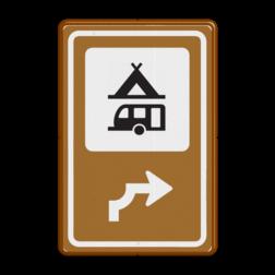Bewegwijzering Recreatie  BW101 + pijlfiguratie Wit / bruine rand, (RAL 8002 - bruin), BEW101 rotonde links, Camping tent & caravan