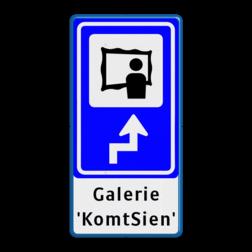 Bewegwijzering Cultuur + tekst | BW101 + pijlfiguratie Wit / blauwe rand, (RAL 5017 - blauw), BEW101 rotonde links, Galerie