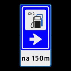 Bewegwijzering Openbare ruimte + tekst   BW101 + pijlfiguratie cng, lpg, tanken