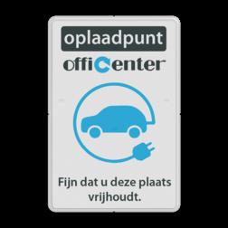 Parkeerbord reflecterend - Oplaadpunt met logo en eigen tekst logobord, eigen ontwerp, schoolplein, speciale borden, BE04