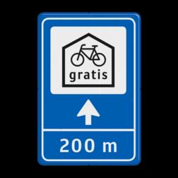 Verkeersbord Gratis fietsenstalling Verkeersbord 40x60 Route - fietsenstalling pijlbord, fietsparkeren, gratis, Utrecht, gemeente