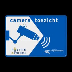 Cameratoezicht met logo politie en (bedrijfs)naam - BP11 privé terrein, verboden, camerabewaking, toezicht, politie, gemeente, cameraregistratie, camera, bewaking, eigen terrein, beveiliging, videoregistratie, BP06, Preventie, Toezicht