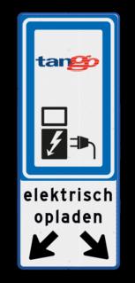 Verkeersbord RVV BW101_SP19+tekst+logo-BE08a BE08a Elektrische, groene stroom, BW101, oplaadpunt, auto laden, autolaadpunt, laadpaal, oplaadpalen, Oplaadpaal, BE04, Tango, OR000 Elektrisch laden,  Links rechts omlaag