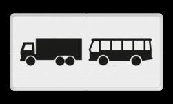 Verkeersbord Onderbord - Geldt alleen voor vrachtauto's en bussen Verkeersbord RVV OB13 - Onderbord - Geldt alleen voor vrachtauto's en bussen OB13 vrachtauto, vrachtwagen, touringcar, bus, wit bord, OB13