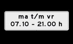 Verkeersbord Onderbord - Geldt alleen voor periode Verkeersbord RVV OB203p - Onderbord - Geldt alleen voor periode OB203p eigen tekst, wit bord, OB203p