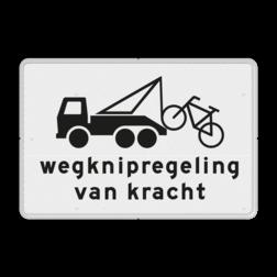 Verkeersbord Onderbord - Wegknipregeling van kracht Verkeersbord RVV OB304b - Onderbord - Wegknipregeling van kracht OB304b vrachtwagen, vrachtauto, fiets, wit bord, OB304b, wegknipregeling