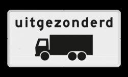 Verkeersbord Onderbord - Uitgezonderd vrachtauto's Verkeersbord RVV OB61 - Onderbord - Uitgezonderd vrachtauto's OB61 wit bord, uitgezonderd vrachtwagens, vrachtauto, OB61