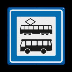 Verkeersbord Tramhalte/bushalte Verkeersbord RVV L03a - Tramhalte-bushalte L03a Tram, Tramhalte, Bus, Bushalte L03, L03b, L03c